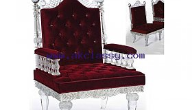 Maroon Color Crystal Royal Chair in Dubai