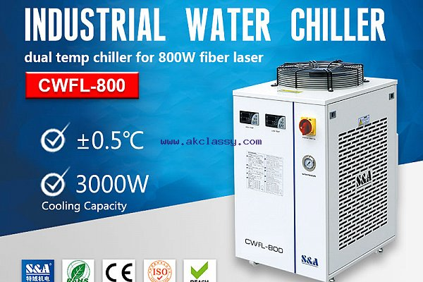 S&A small water chiller CWFL-800 for cooling 800W fiber laser engraver