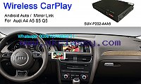 Audi A4 A5 S5 Q5 Wireless Apple CarPlay Box Original Screen Update  Model: SUV-P202-A4A5  Main Functions :  1.Working with wireless apple CarPlay,connecting via Bluetooth ,transfer by wifi .  2.Support android auto.  3.GPS navigation apps,Google maps,Waze